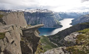 View of trolltunga in Hardanger, Norway.