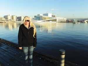 Left: University of Minnesota senior Megan Trench standing in front of Operahuset, or Oslo Opera House. Trench spent a semester at the University of Oslo through a HECUA Scandinavian Urban Studies Term.