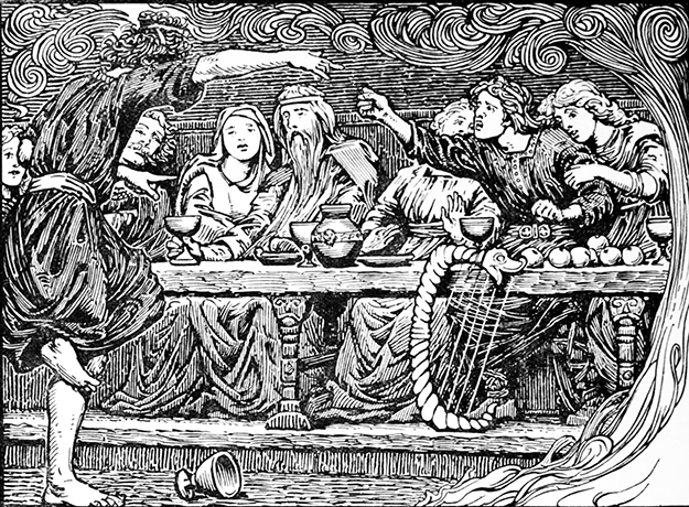 """Photo: Wikimedia Commons """"Loki taunts Bragi"""" (1908) by W. G. Collingwood, used as an illustration to Lokasenna in Olive Bray's English translation of the Poetic Edda. This sort of behavior does lend credibility to the idea that Loki makes a lousy dinner guest, but in my opinion it's a big stretch from there to """"any 13th guest means someone will die in the next year,"""" and an even bigger leap from there to demonizing an entire number."""