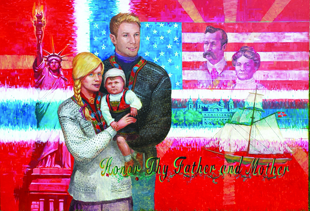 Photo: 20/20schools.com The left panel of the mural depicts the founders of the Norwegian Christian Home & Health Center along with a modern Norwegian family, the Statue of Liberty, and Ellis Island.