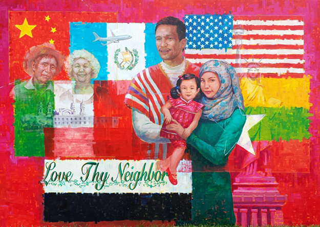 Photo: 20/20schools.com The right panel depicts five immigrants and the flags of their home countries, honoring the backgrounds of the students who worked on the project.