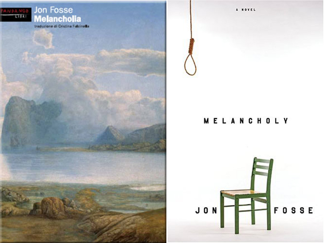 """The differences between covers in and out of the U.S. is itself quite telling. The Italian cover (left), like the Norwegian one, uses Hertervig's""""From Borgøya,"""" which creates a connection to the artist."""