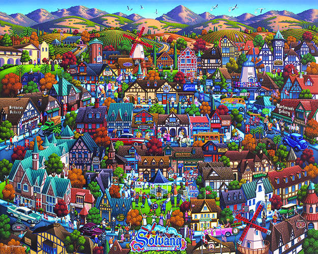 """Photo: Folk artist Eric Dowdle This version of Solvang was premiered at Danish Days by artist Eric Dowdle for his upcoming TV show """"Painting the Town."""""""