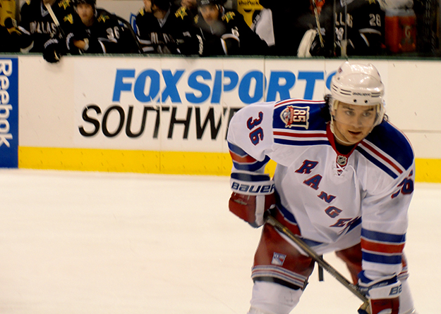 Photo: Anna Enriquez / Flickr  Zuccarello on the ice as winger for the New York Rangers.