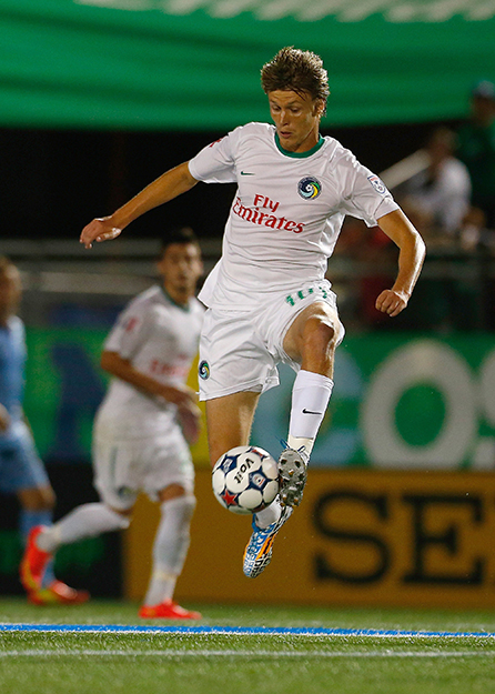 Photo: New York Cosmos via Getty Images (by Mike Stobe) Mads Stokkelien in action.