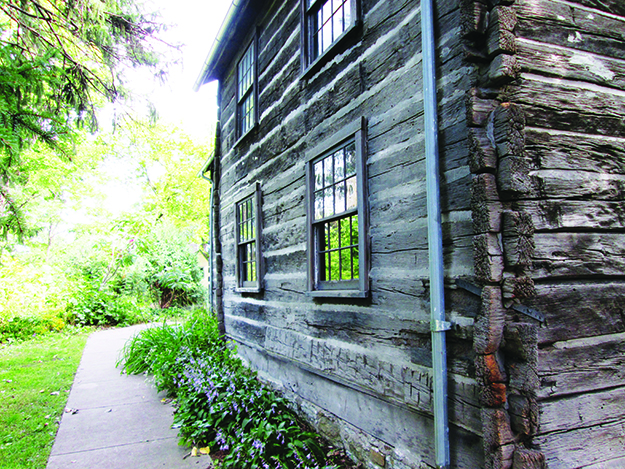Photo: Christine Foster Meloni The side of the Old Muskego Church, a square-log building originally built in Muskego, Wisconsin.