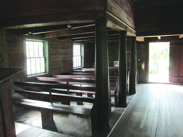 Photo: Christine Foster Meloni Rows of pews on the first floor of the church.
