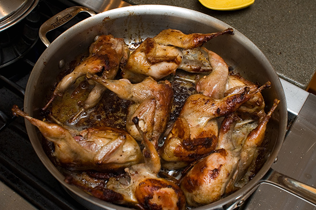 Photo: Stewart Butterfield / Wikimedia Commons Okay, you got me. These are quails. Would you believe it's hard to find photos of cooked ptarmigan?