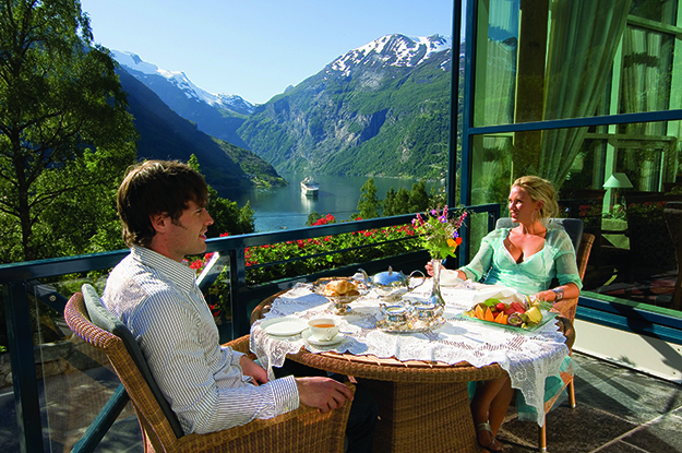Photo: Terje Rakke / Nordic life / Visitnorway.com Hotel Union Øye sits perched on the Geiranger Fjord, offering spectacular views along with fine accomodations and dining options.