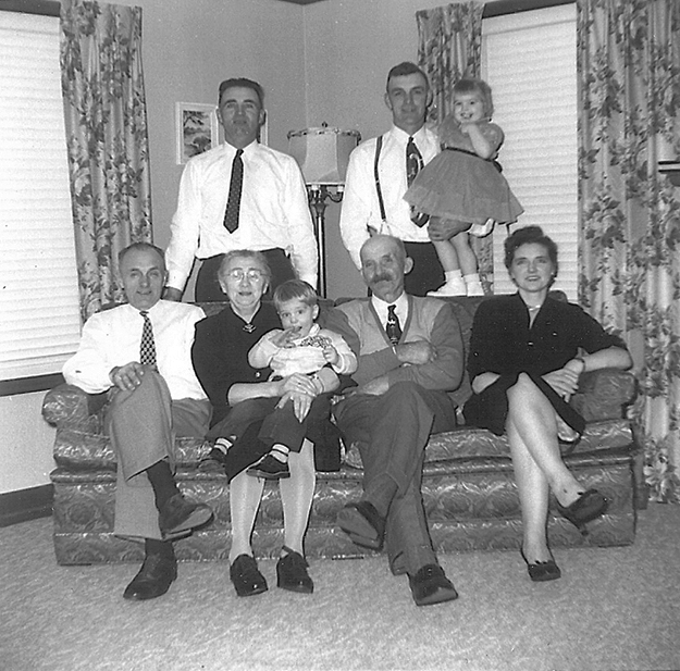 Photo courtesy of Jon Lind In 1958, when my grandparents celebrated their 50th anniversary, their four children in the U.S. gave them a trip across as an anniversary present. The adults pictured are my grandparents, my mother, and my three uncles.