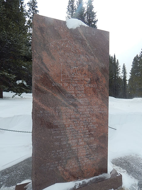Photo: Erik Brun The 99th Infantry and NORSO monument at Tennessee Pass, near ski Cooper on Highway 24.
