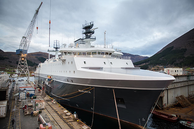 Photo: Norwegian Intelligence Service The new Marjata is much bigger and sleeker than her predecessor.