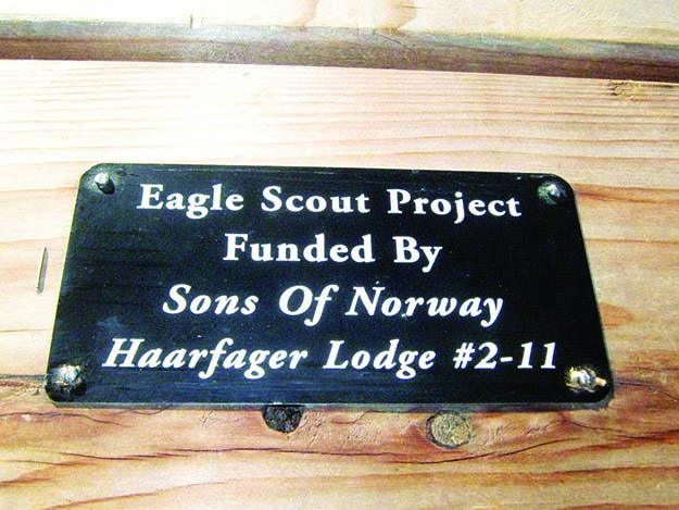 Photos: Bill Solum The picnic tables honor the Sons of Norway's funding.