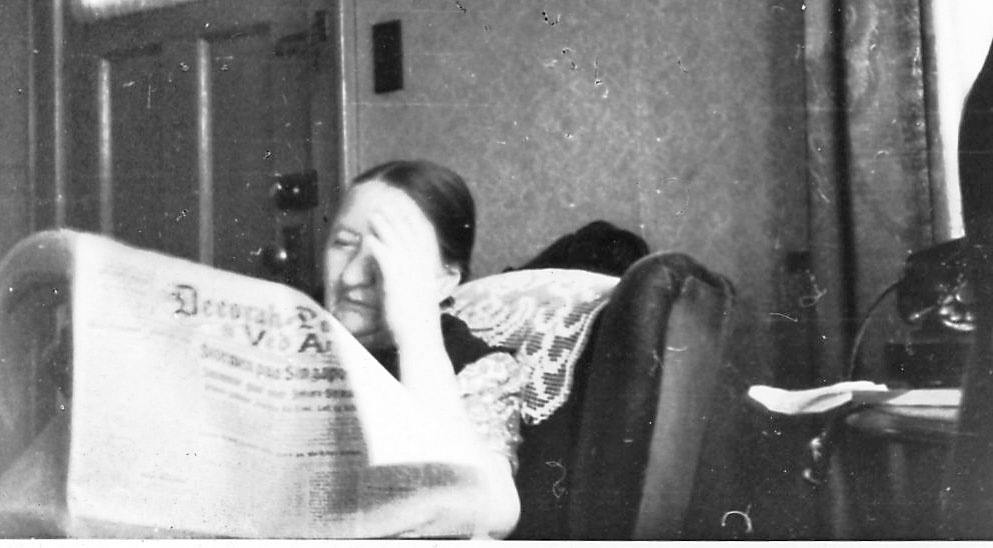 Photo courtesy of Marilyn Berg Cooper One of my favorite hostorical photos. Marilyn Berg Cooper's grandmother reading the Decorah Posten.