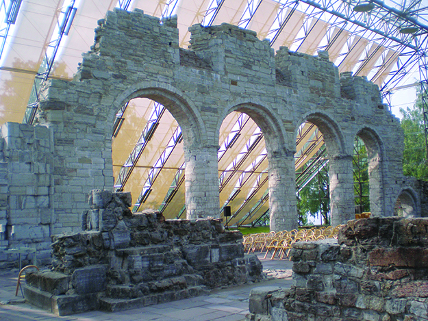 Photo: Wikimedia Commons The ruins of Hamar's ancient cathedral are now protected by a glass enclosure.