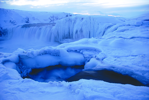 Photo: Emily C. Skaftun Iceland isn't all fire; in winter it also has a lot of ice. This is Goðafoss, the waterfall of the Gods, into which all the old Norse Gods were ritually tossed upon Iceland's conversion to Christianity.