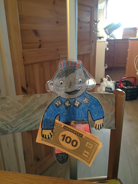 Photo: Heidi Håvan Grosch Flat Stanley enjoys playing Monopoly!