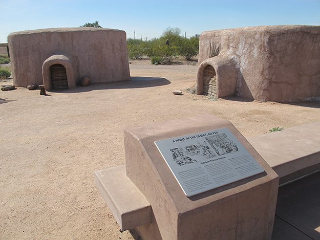 Photo: Thor A. Larsen Replicated pre-historical homes at the Pueblo Grande Museum.