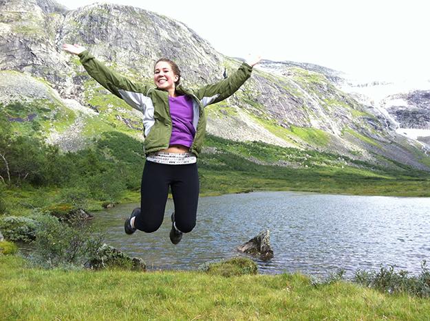 Photos: Britt Eva Heggheim Jillian jumps for joy near the base of the Briksdal Glacier.