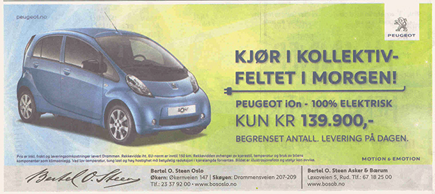 "Peugeot EV ad in March 3 edition of Aftenposten; headline reads: ""Drive in the Public Transport Lane Tomorrow!"""