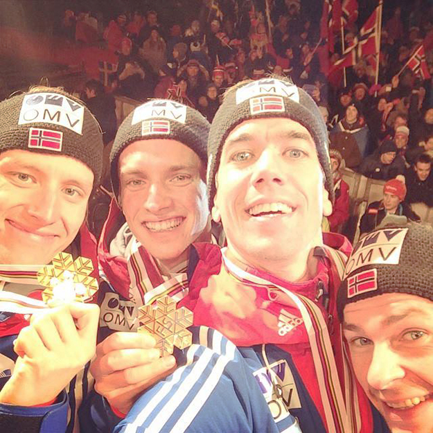 Photo: Anders Bardal / Facebook Team large hill winners Anders Bardal, Anders Jacobsen, Anders Fannemel, and Rune Velta celebrate victory with a golden sefie.