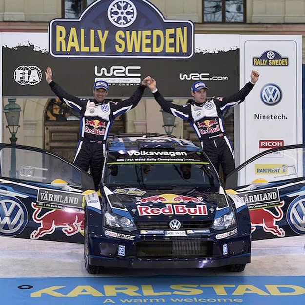 Photo:  Andreas Mikkelsen / Facebook The team celebrates their podium finish.