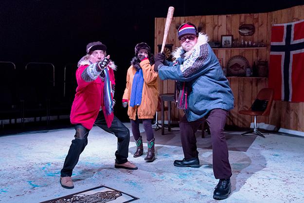 Photo: Jae Yi Photography / Scena Theatre Ron Litman, Nora Achrati, and Brian Hemmingsen in The Norwegians.