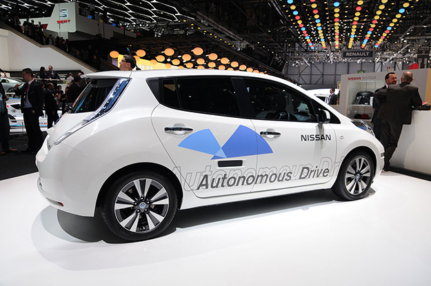 Photo: Norbert Aepli / Wikimedia Commons Nissan autonomous car prototype (using a Nissan Leaf electric car) exhibited at the Geneva Motor Show 2014.