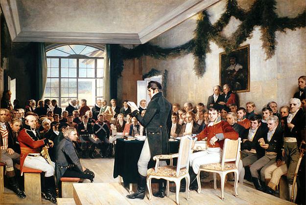Photo: Wikimedia Commons Riksforsamlingen på Eidsvoll 1814, painted by Oscar Arnold Wergeland in 1885.