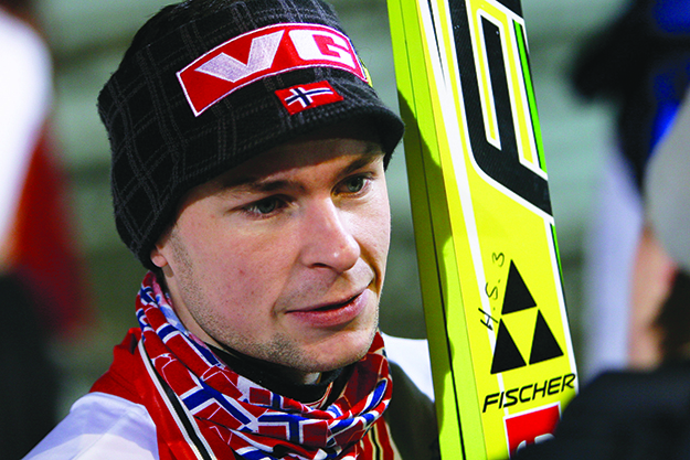 Photo: Tor Atle Kleven / Wikimedia Anders Jacobsen after winning the Norwegian ski jumping championship January 19, 2010.