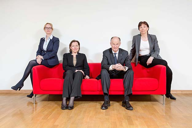 Photo: Argentum  Argentum's board, from left: Tina Steinsvik Sund, Mari Tjømøe, Tom Knoff, and Grethe Høiland. Kjell Martin Grimeland was not present when the picture was taken.