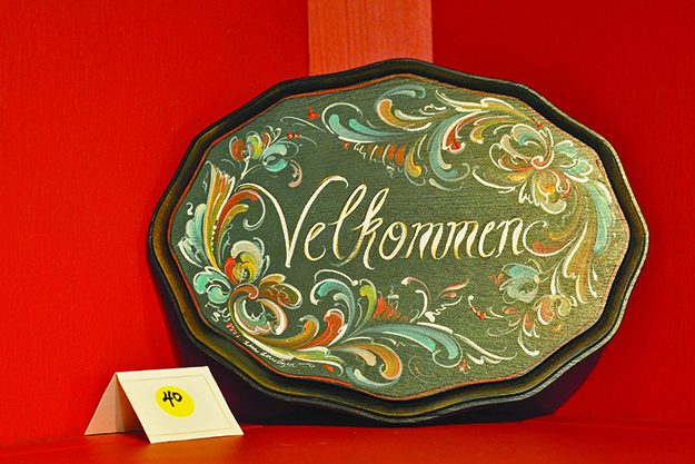 Photo: Kathi Santora / The Writing Studio One of the more traditional items in Lorentzen's rosemaling show.