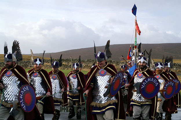 Photo: Mike Pennington  Right: Revelers preparing for Up Helly Aa in 2005.