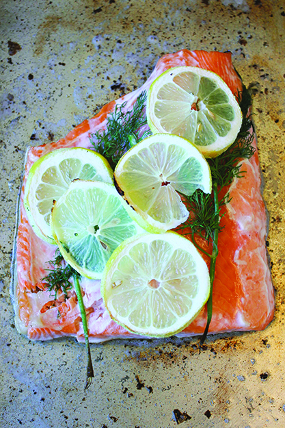 Photo: Christy Olsen Field Freshly baked salmon prepares for its big date with salad.