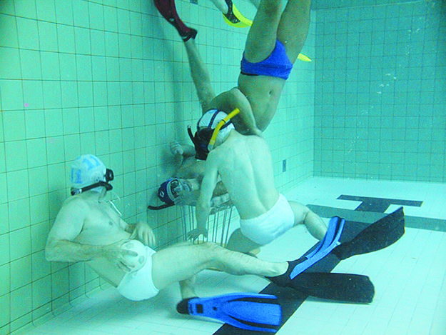 Photo: Michael Harjes / Wikimedia Commons  Underwater rugby is a unique sport played with snorkel masks and a saltwater-filled ball.