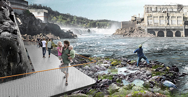 Photo: Snøhetta Concept rendering of what the Willamette Falls Riverwalk might look like. The design is currently in the very early stages.
