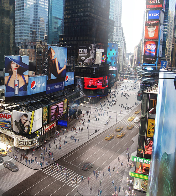 Photo: Snøhetta The Times Square Redesign aims to improve flow for pedestrians, cyclists, and car traffic alike.