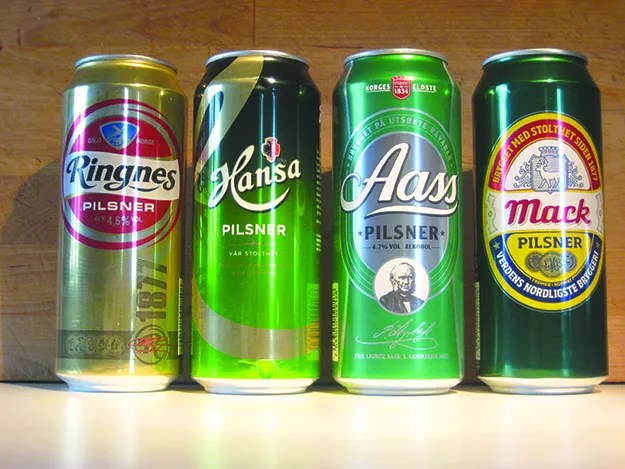 Photo: M. Michael Brady Four popular beers in half-liter (16.9 fl. oz., slightly more than a U.S. pint) cans.