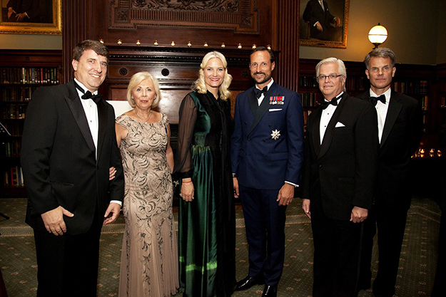 Photo: Berit Hessen Giacomo Landi (Executive Vice President), Inger M. Tallaksen (General Manager), H.R.H Crown Princess Mette-Marit, H.R.H Crown Prince Haakon, Ole Christian Schrøder (National President), and W. Cameron Beard (Chairman of Program Committee) gather at the NACC's 100th anniversary gala.