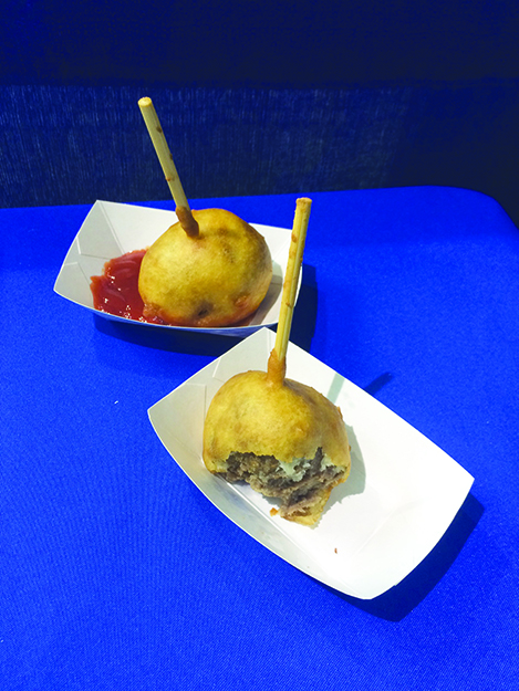 """Photos: Darin Lietz """"Viking on a Stick"""" is at the intersection of Nordic cuisine and fair food; it's a deep-fried meatball."""