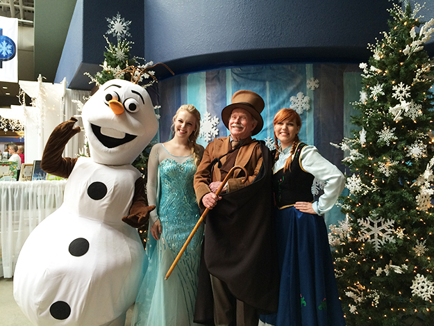 Photo: Emily C. Skaftun Characters in search of an author. Olaf, Elsa, and Anna pose with Hans Christian Andersen (Rolf Kristian Stang), author of The Snow Queen, the fairy tale Frozen was based on.
