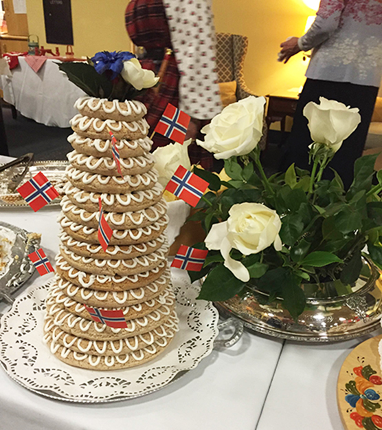 Photo: Molly Jones Valkyrien Lodge celebrated the festive night with a kaffebord complete with this beautiful kransekake.