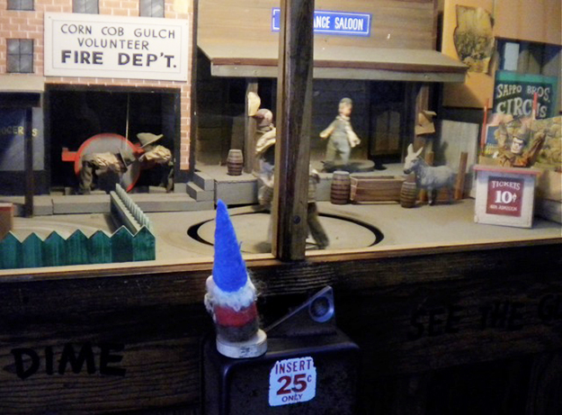 Photo: Marilyn Berg Cooper At Fisherman's Wharf, inside Musée Mécanique, Nils Anders was happy to see people his size.