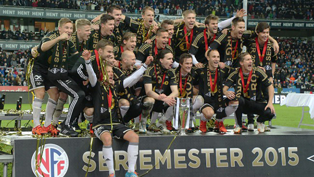 Photo: Hege Tøndel Jonli / NRK  The winners for 2015: Rosenborg is proud to re-take the podium after five years.