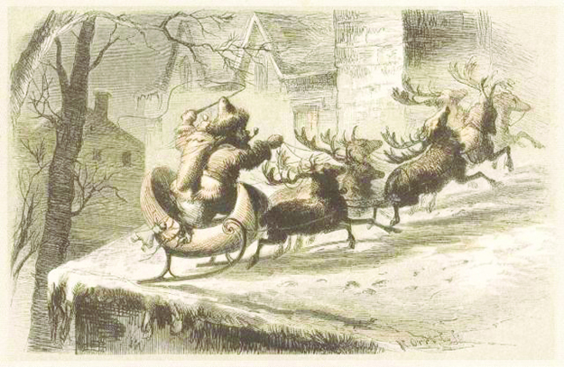 """Photo: Wikimedia Commons """"Santa's Sleigh Lands on a Roof,"""" accompanied an 1862 edition of """"A Visit From Saint Nicholas."""" It is the work of the artist F.O.C. Darley."""