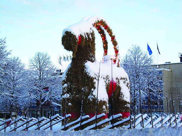 Photo: Tony Nordin / Wikimedia Commons Giant Yule Goat in Gefle, Sweden.
