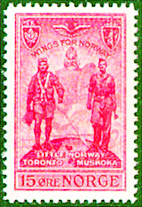 Photo: Norway Post Little Norway commemorative stamp issued March 28, 1946.