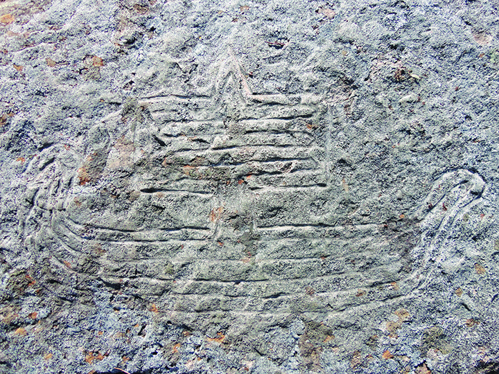 "Photo: Library of Congress ""Copper Harbor Norse Sailing Ship,"" a rock carving found near Copper Harbor, Michigan."