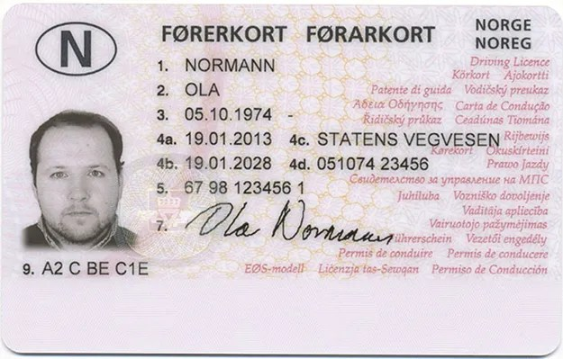 """Photo: Norwegian Public Roads Administration Current Norwegian Driver's License front. """"Ola Normann"""" is the hypothetical average man, equivalent to """"John Doe"""" in the U.S."""