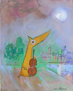 """Photo courtesy of Agora Gallery Painting by Lars Aukrust, """"The Cello Concert in Central Park,"""" Acrylic on Canvas, 39.5"""" x 31.5""""."""